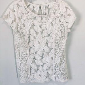 LC Lauren Conrad white lace short sleeve top